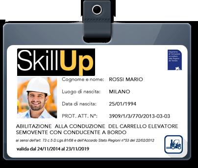 Tesserino Patentino Carrello Elevatore SkillUp